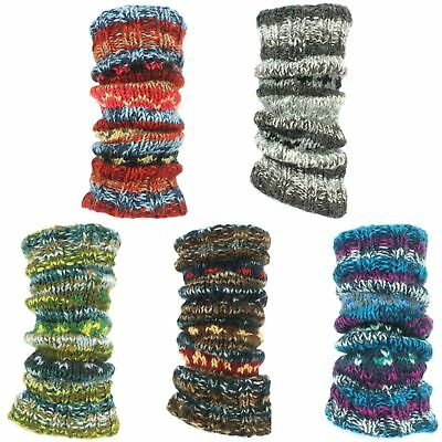 Leg Warmers Wool Knit Fleece Lined Hippie ABSTRACT Slouch Boot Socks Dance