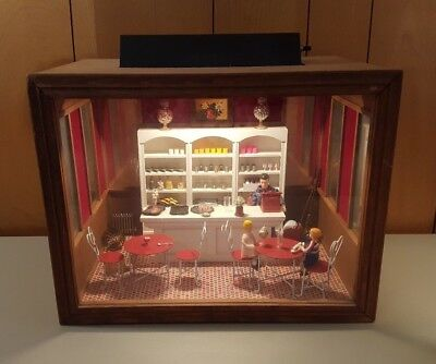 Vintage Ice Cream Parlor Store Display Antique Miniature Lighted Diorama