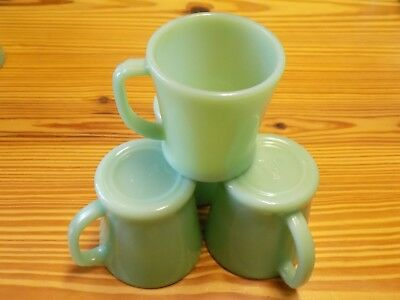 Four Fire King D Handle Jadeite Coffee Mugs - Great Condition