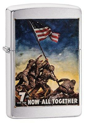 Zippo Lighter: USMC Marine Corps Poster, Iwo Jima - Brushed Chrome 29596
