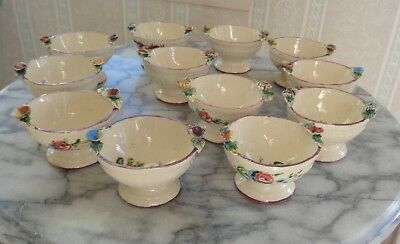 Set of 12 Vintage Hand Painted Italian Pottery Dipping Bowls / Salt Cellars