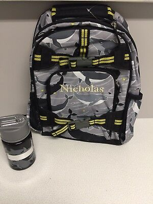 "NEW! Pottery Barn Kids Small Backpack + Water Bottle Shark Camo ""Nicholas"""