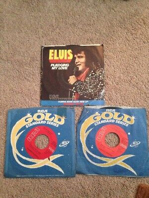 "Lot Of 3 Elvis Presley 7"" Vinyl 45 Records Way Down Pic Sleeve Its Now Or Never"