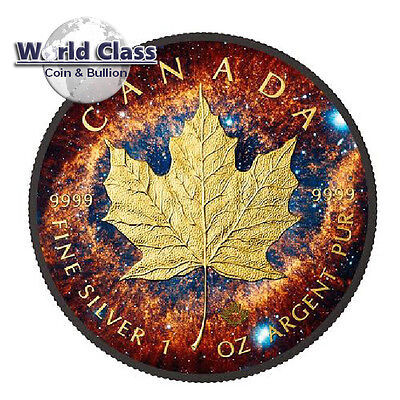 2016 1 oz Silver $5 Helix Nebula Canada Maple Leaf Coin With 24k Black Ruthenium