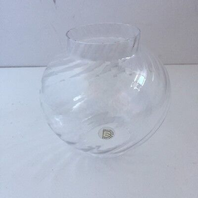 "Dartington Victoria Ripple Glass Replacement Shade Gold Label 6"" High"