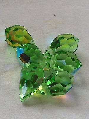 Lot 6pcs 10mm Swarovski Crystal Briolette Drop Bead in Rare AB Peridot Retired