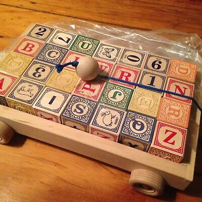 Uncle Goose Classic ABC Blocks with Pull Wagon - Made in USA