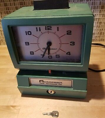 Acroprint 125NR4 Heavy Duty Automatic Punch Time Clock Recorder Works With key