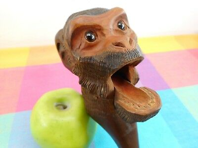 Antique 19th C. Black Forest Carved Wood Nutcracker - Figural Monkey Glass Eyes