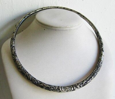 Fine Old Chinese Sterling Silver Hinged Imperial Collar Necklace 46g