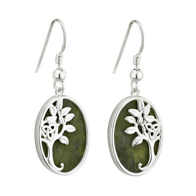 New Tree of Life Drop Earrings Silver & Connemara Marble Made in Ireland