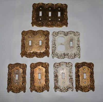 7 Vintage Ornate Gold Brass Metal Outlet Toggle Light Switch Plates Plate Covers