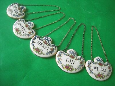 Set of 5 Crown Staffordshire Decanter Labels Whisky Sherry Brandy Gin Bourbon