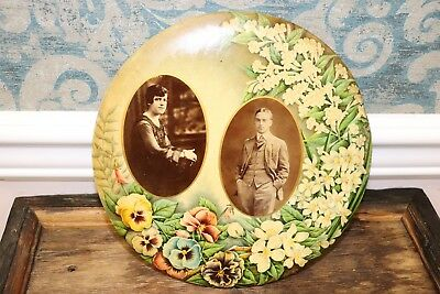 Antique Victorian Tintype marriage button tin w/floral design (c early 1900's)