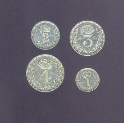England, 1941 W. W. 2 George VI Silver 4 Coin Maundy Set, Free USA Shipping