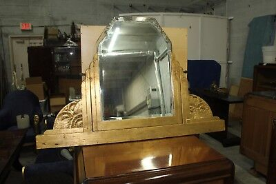 Beautiful French Art Deco Mirror Gold Leaf With Design Circa 1940s  AS  IS