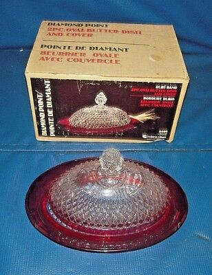 Vintage Indiana Glass Ruby Band Diamond Point Oval Covered Butter Dish #3466