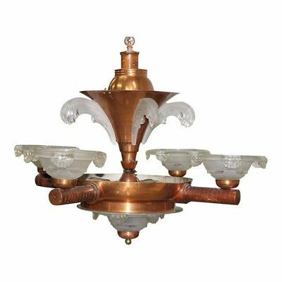 French Art Deco Chandelier by Ezan Glass and Copper, 1930 AS IS