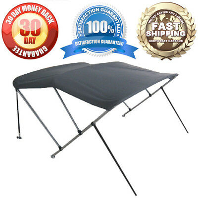 "3 Bow Bimini Boat Cover 6' Ft Top 54""-60"" W/ Boot Gray Covers Includes Hardware"