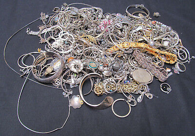 GIANT VINTAGE 3lb 12.25oz (1708g) STERLING JEWELRY & MISC. MIXED SCRAP LOT