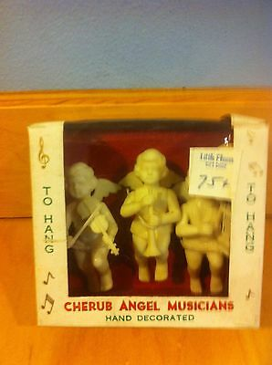 Vintage 3 Angels Cherub Musician  White  Old British Hong Kong In Box  *
