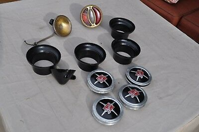 Lot 11 vintage 1929-30 Buick parts - hub covers, caps, cowl lights, STOP glass