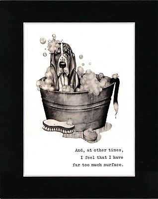 Basset Hound Taking A Bath Lovely Dog Art Print Matted Ready To Frame