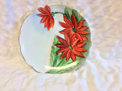 Vintage Hand Painted Bavaria Bread & Butter Plate Floral Poinsettia Gold Trim