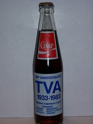 10 Oz Coca Cola Commemorative Bottle - 1983 Tennessee Valley Authority 50Th