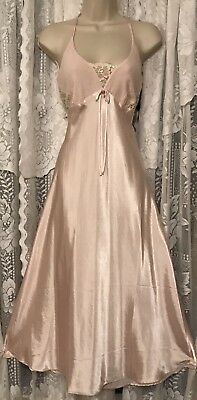 VTG 80's Sexy Delicates Apricot Satin Nightgown Negligee Gown L