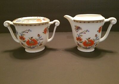 Ceralene Vieux Chine Sugar Bowl and Creamer Raynaud Limoges 4 1/2 inches
