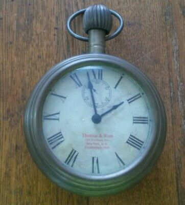 Large Vintage Thomas & Ross NY Wall Brass Pocket Watch Alarm Clock Works