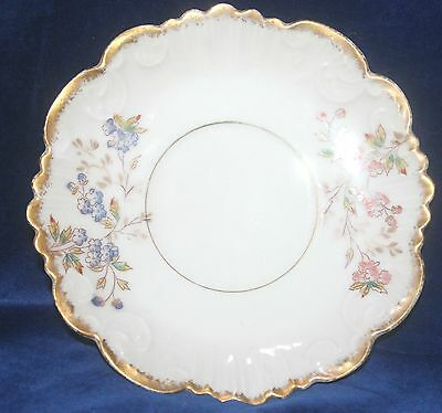 Floral Limoges Porcelain Blue, Pink, White & Gilt Tea Saucer c.1930