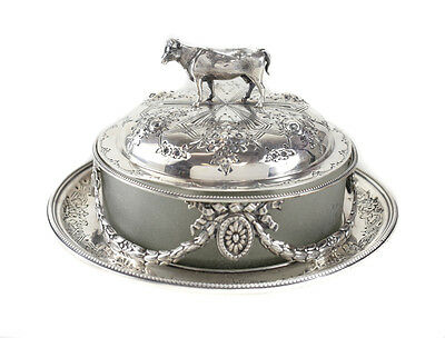Martin, Hill & Co London Sterling Silver Lidded Butter Dish, Frosted Glass 1872