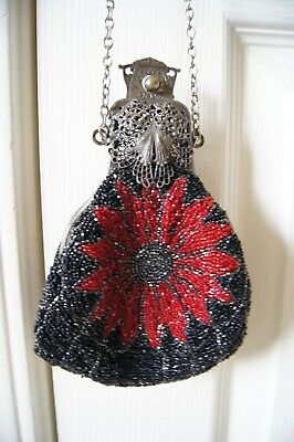 Antique Victorian Wrist Purse Metal Filagree and Hand Beaded Black & Red Petite