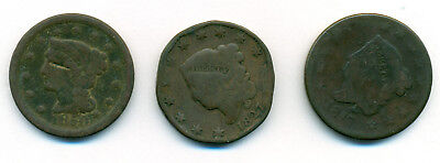 Lot of 3 US Large Cents 1817 & 1827 Coronet Head & 1850 Braided Hair