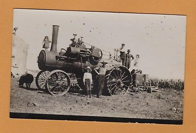Vintage Real Photo Steam Engine Tractor Postcard