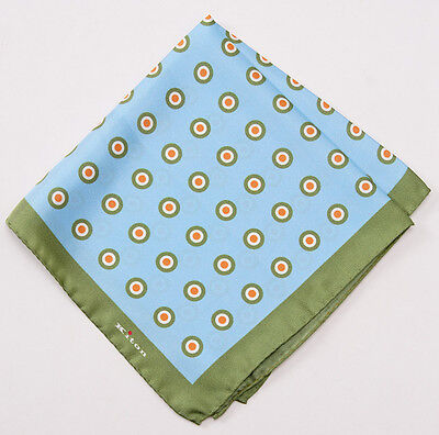 New $215 KITON NAPOLI Leaf Green-Sky Blue Circle Print Silk Pocket Square