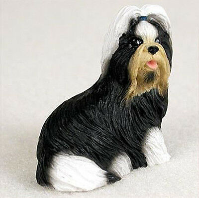 SHIH TZU BLACK WHITE  TINY ONES DOG Figurine Statue Resin Pet Lovers Gift
