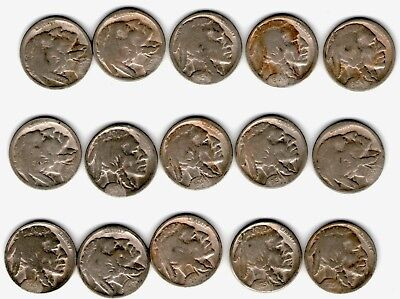 15 Different Buffaloes - 1915-28 All D Or S Mints - Restored Dates