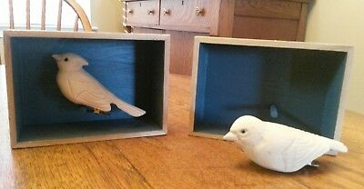 2 Hand Carved Wood Clip On Birds, Shadowbox Perch