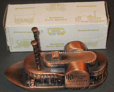 Vintage Banthrico Riverboat Antique Coin Bank Advertising Bank of Raleigh w/ box