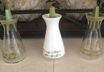 Vintage Pyrex Crazy Daisy Spring Blossom Glass Salt & Pepper Shakers ~Lot Of 3