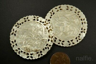 QUALITY PAIR of ANTIQUE CHINESE HAND CARVED MOTHER of PEARL COUNTERS c1800's