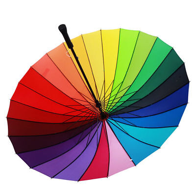Multicolour Windproof Rainbow Umbrella Sun/Rain Parasol Wedding Party Decor 24K