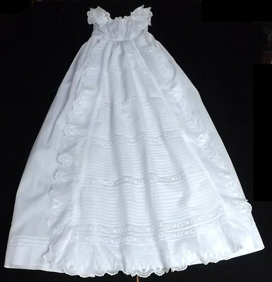 Victorian London 1890 Christening Gown Waterfall Ruffles, Lace Bodice, Pintucks