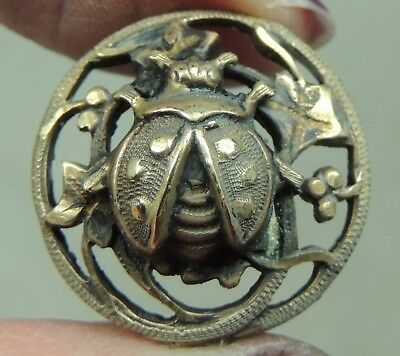 Brass Picture Button ~ Ladybug      Metal