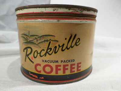 Rockville Vacuum Packed Coffee Tin Grounds G H Delp Reading PA