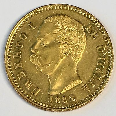 1882 Italy 20 Lire Lira Gold Coin - Nice Luster -High Quality Scans #C862