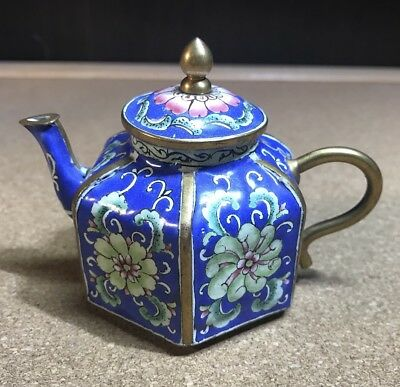Vintage Enamel & Brass Small Miniature Teapot Blue with Pink and Green Flowers